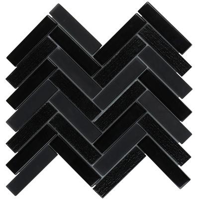 Modket TDH182MO-S Sample Black Crackled Glass Mosaic Tile Stacked Pattern Backsplash